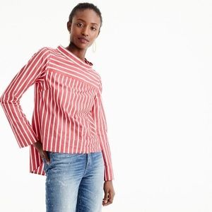J. Crew Funnelneck Stripe Shirt in Red and White
